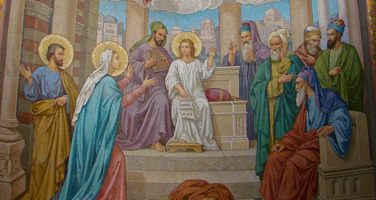 """5ème joie de Marie : """"assis au milieu des docteurs de la Loi : il les écoutait"""""""