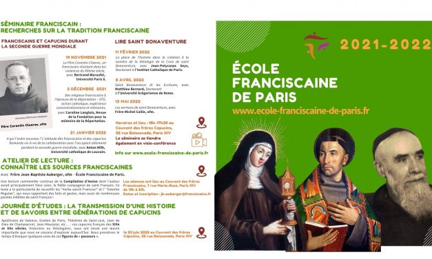 L'École franciscaine de Paris annonce son programme !